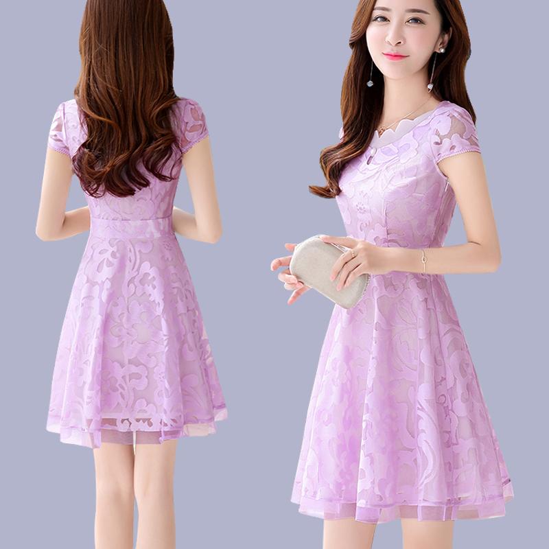 女士夏季蕾丝连衣裙2019新款中长款30岁到40小矮个子女人夏天裙子