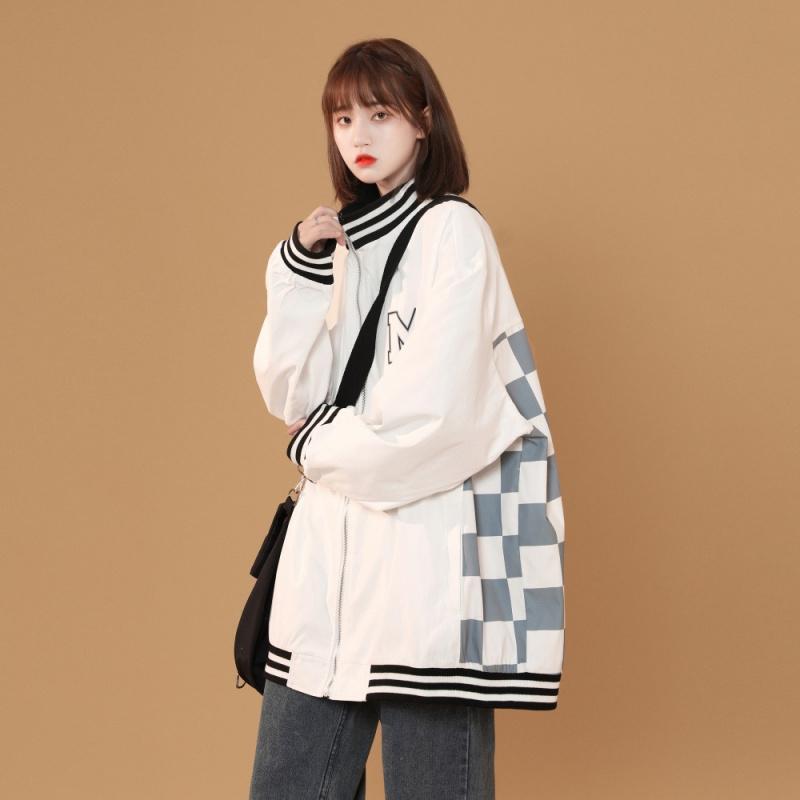 2021 autumn new trendy Plaid baseball suit thin coat womens sports casual jacket