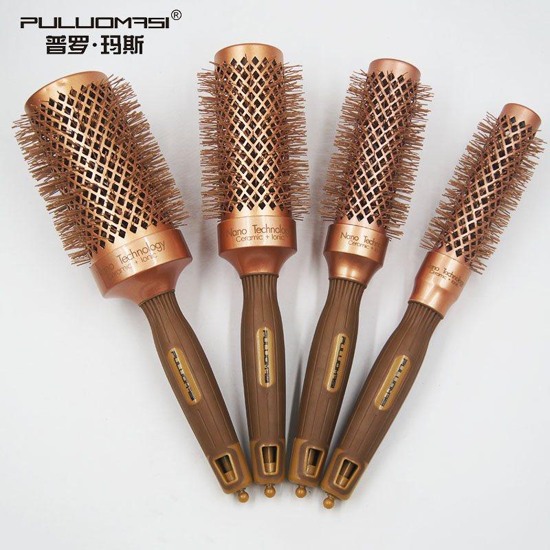 普罗玛斯空气毛滚梳新款灵感导热造型吹梳内扣直发梳金色陶瓷卷梳