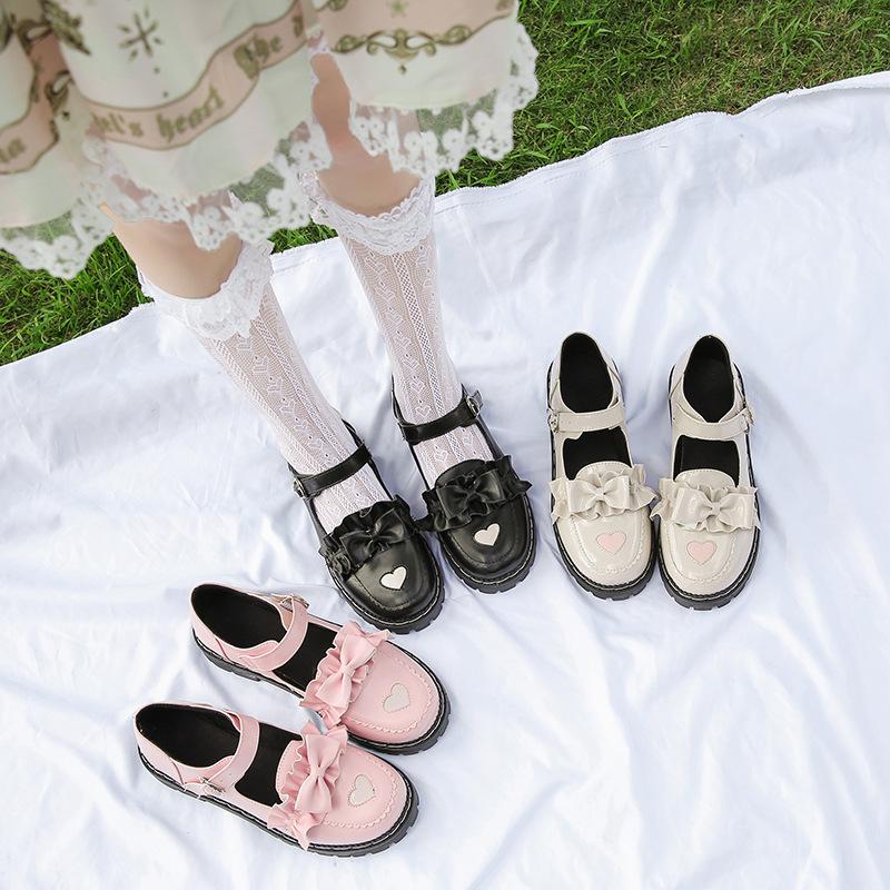 日本系ロレッタロリータ厚底可愛いロリ女靴丸首人形靴原宿ソフトガールjk革靴女