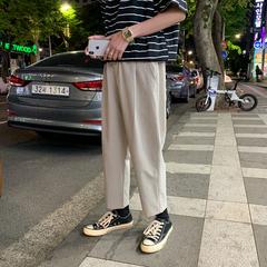 717-N917-P50 夏季新款纯色宽松休闲裤子男士九分裤潮