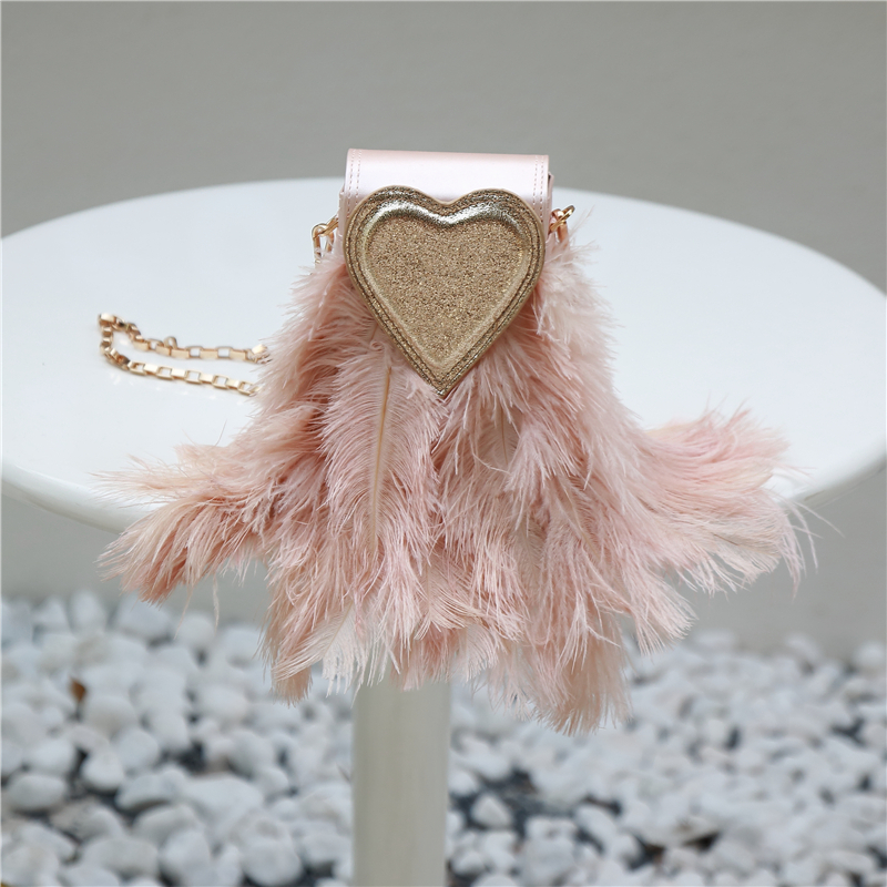 Heart shaped bag bag chain bag handbag evening party love feather celebrity bag