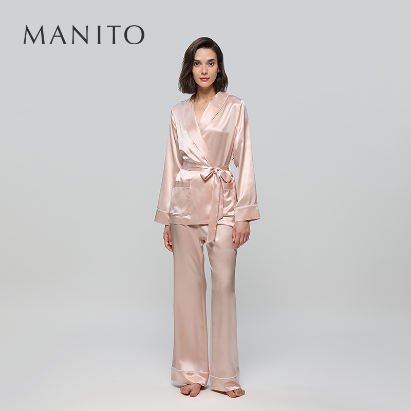 MANITO/曼尼陀Elite睡袍套装真丝睡袍桑蚕丝女士宽松舒适家居服