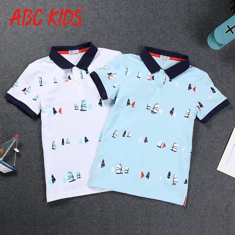 abckids童装 2018新款韩版男童短袖t恤薄款夏装儿童上衣小男孩装