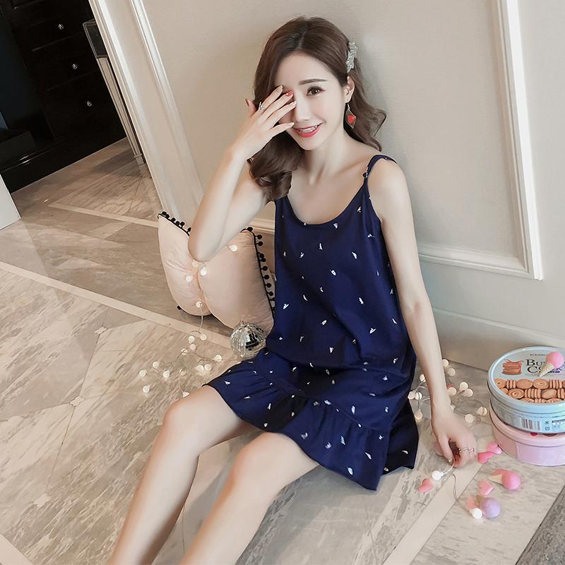 由果韓版学生パジャマ女性の夏の甘さと可愛いサスペンダーの夏の純綿の中のスカートのベストルームウェアです。