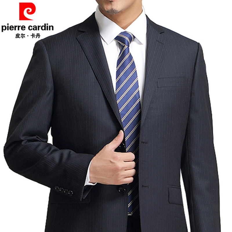 Authentic Pierre Cardin suit mens easy wear wool suit business suit striped bridegrooms and dads