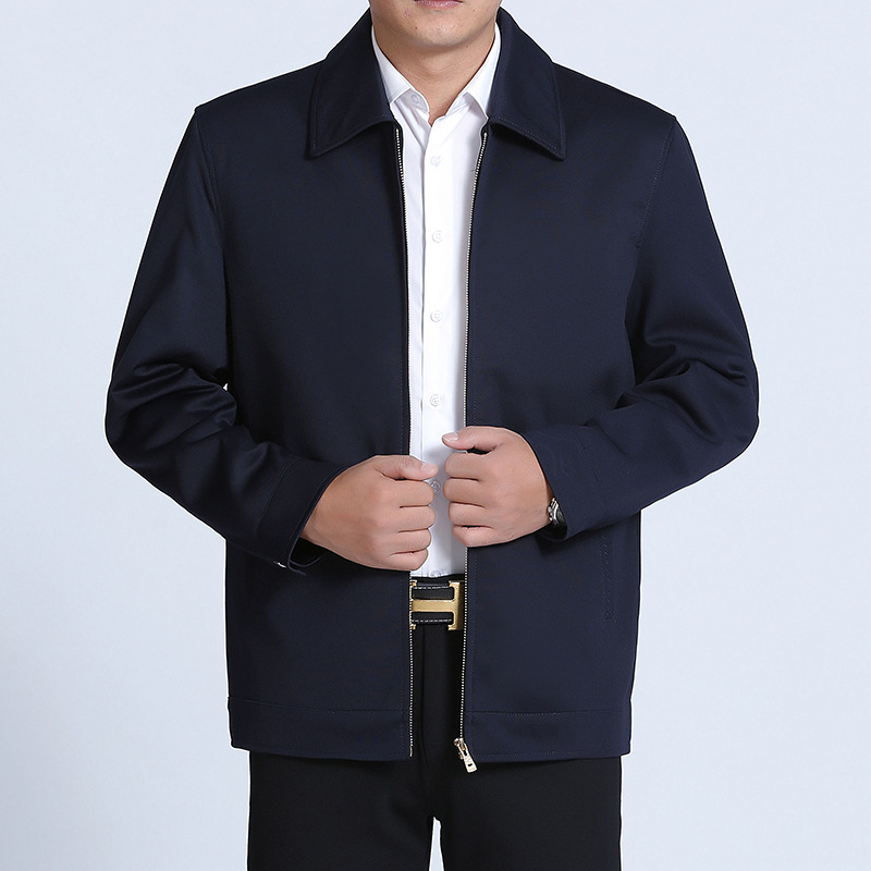 Middle aged and elderly mens casual jacket jacket business middle aged mens jacket lapel dads dress in spring and autumn 2020