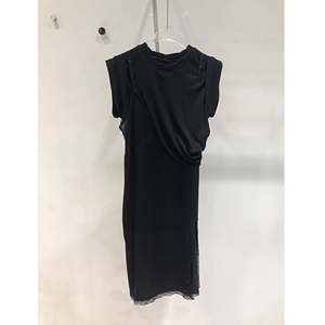 大王2020春夏新款时尚淑女假两件短袖t恤拼接蕾丝吊带连衣裙女潮