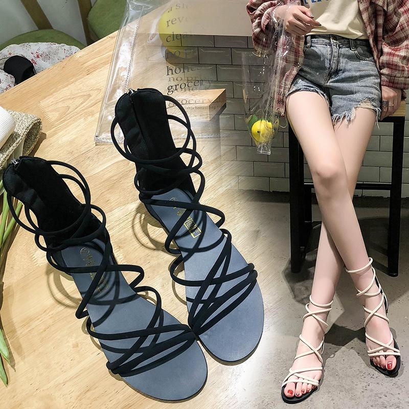 Sandals women 2021 new fashion summer net red super fire Fairy Cross Roman shoes versatile flat bottom cool boots