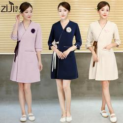 新款美容院工作服女护士服美甲时尚美容师工作服连衣裙秋冬装高端