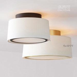 洛西可北欧风格小吸顶灯现代美式新中式卧室书房入户布艺全铜灯具