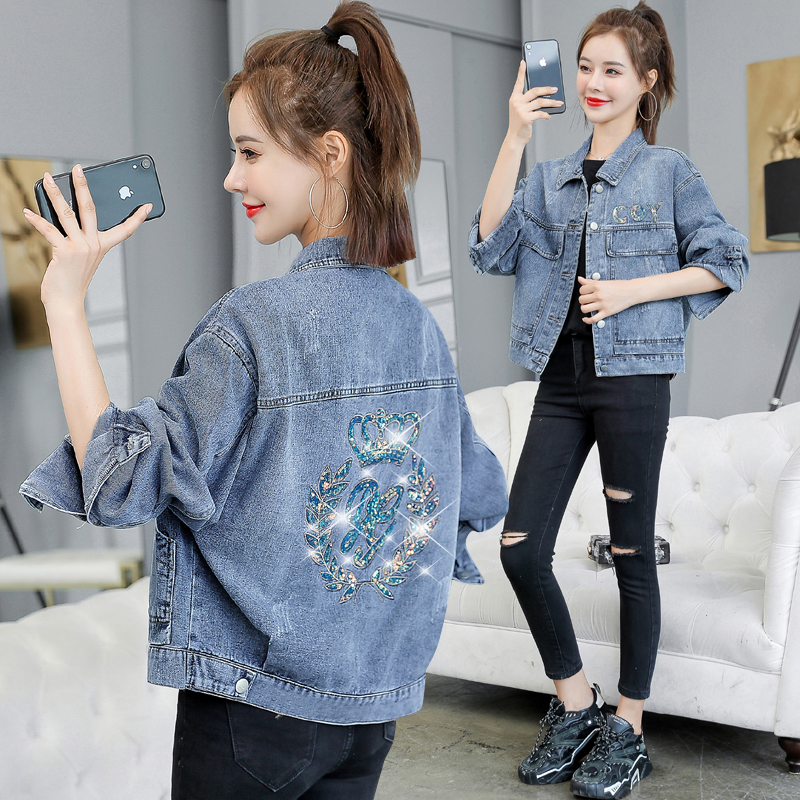2021 spring and autumn new denim jacket Female Short Student Korean loose sequined denim jacket