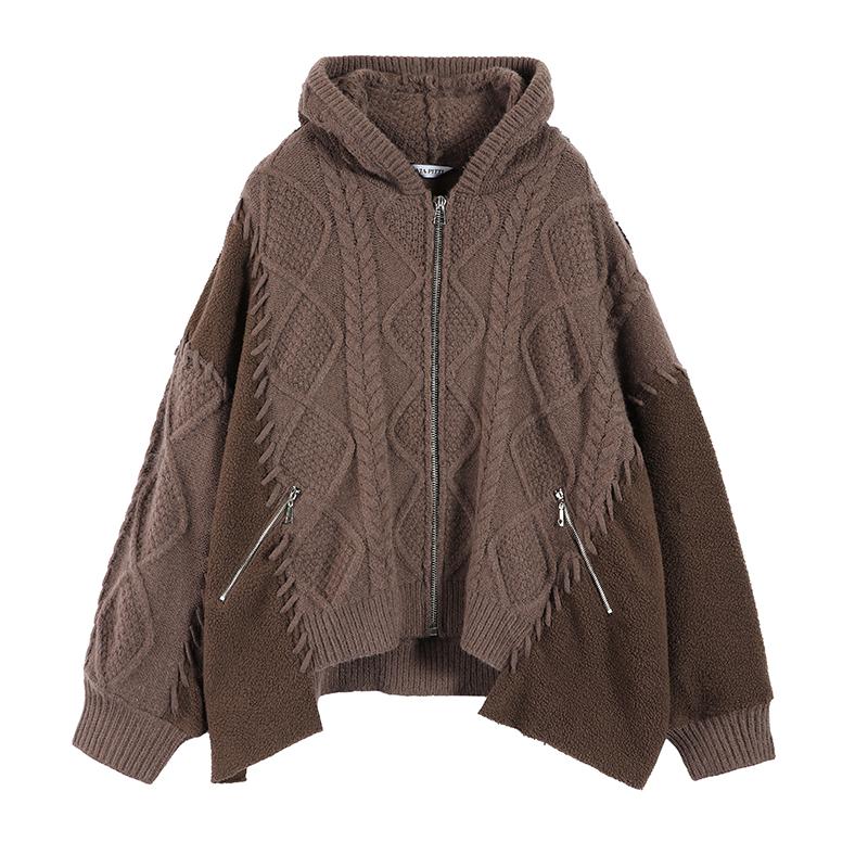 家君姐姐 Via Pitti2020冬季新品撞线重工加绒卫衣拼接大毛衣外套