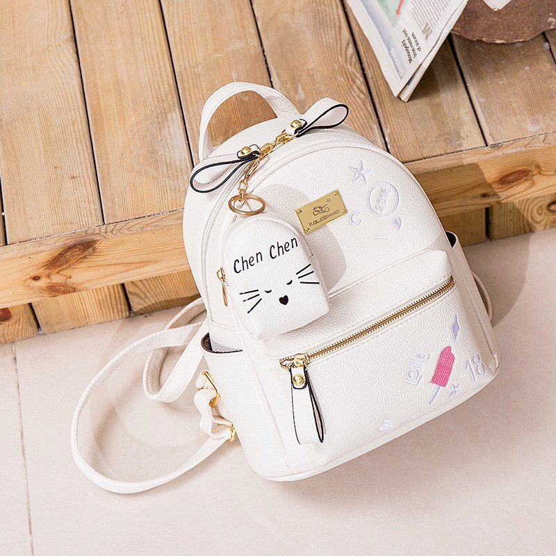 Womens earth bag new 2018 small backpack versatile net red double shoulder cute girl student Mini soft leather Korean version