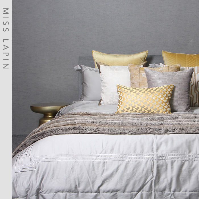 MISSLAPIN简约现代/酒店样板房床上用品套件/黄色灰色十四件套
