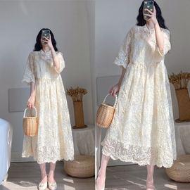 胖mm大码女装改良旗袍裙2020夏装新款胖妹妹气质欧根纱显瘦连衣裙图片