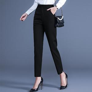 烟管裤女2021春夏季哈伦高腰宽松西装裤大码休闲裤子女直