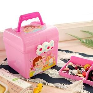 手提糖果收纳箱 儿童玩具整理家用箱 可爱卡通双层塑料储物箱
