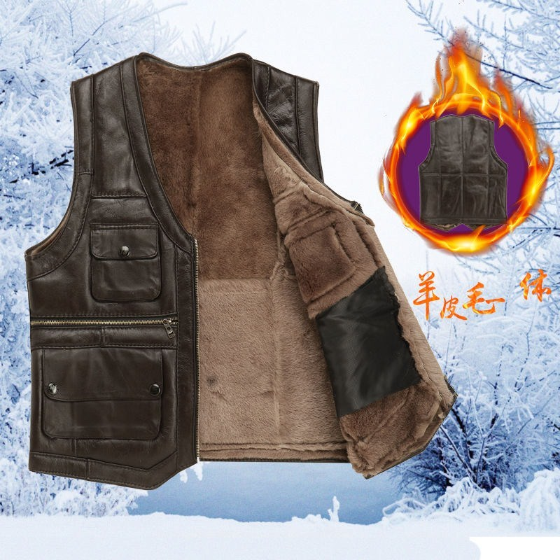 Spring and autumn special mens sheepskin vest REAL SHEEPSKIN vest vest vest vest loose large mens middle-aged fathers coat