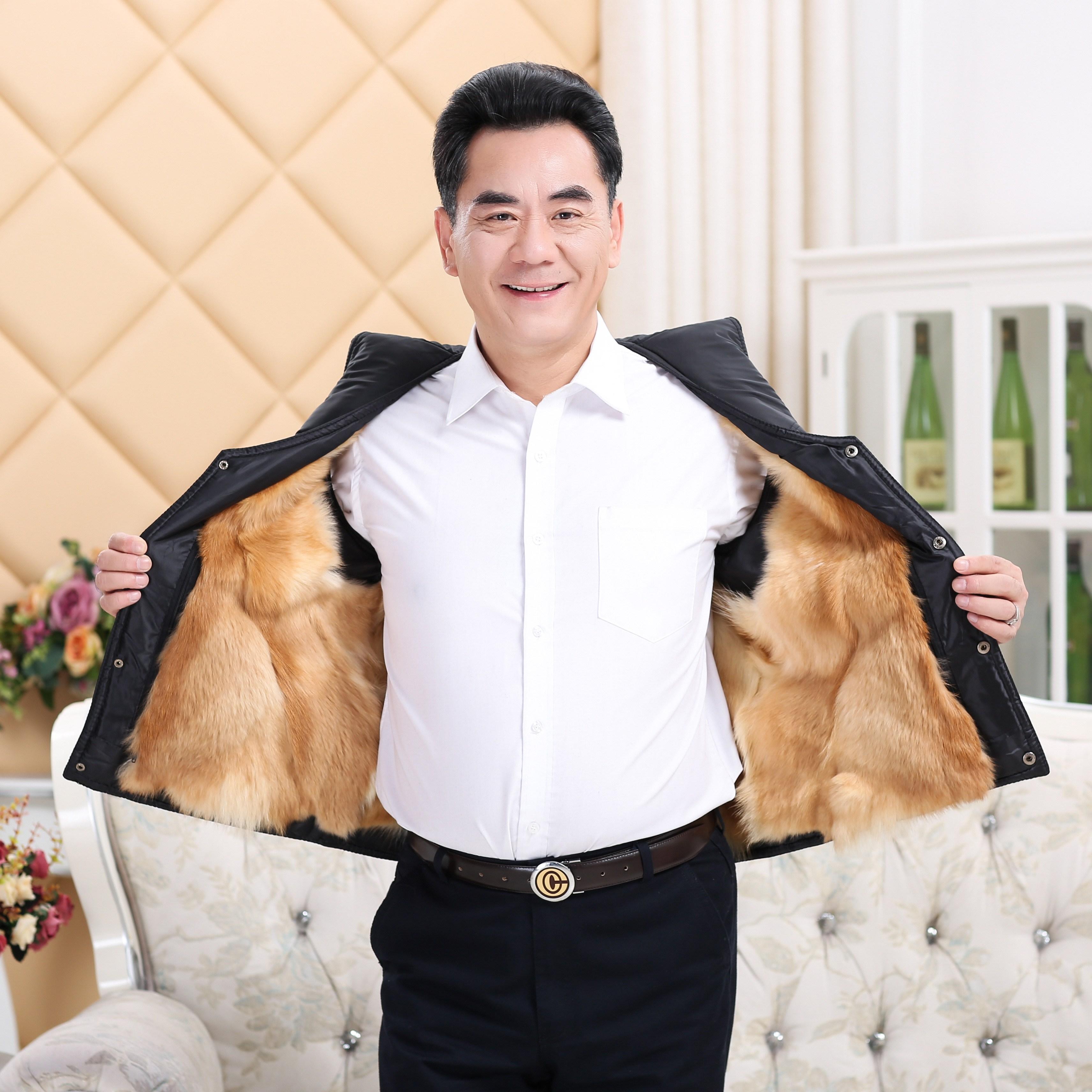 Fishing locomotive Leather Vest mens head layer sheepskin thin collarless leisure slim fit short vest waistcoat