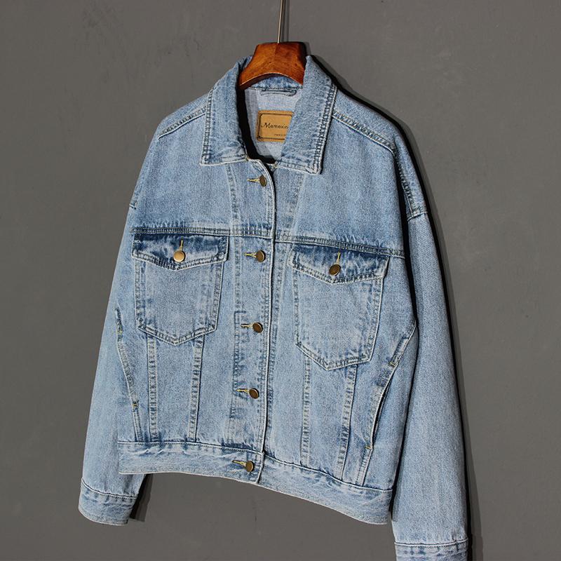 Memexing2018 autumn new BF style Denim Jacket Womens loose and versatile skinny denim jacket