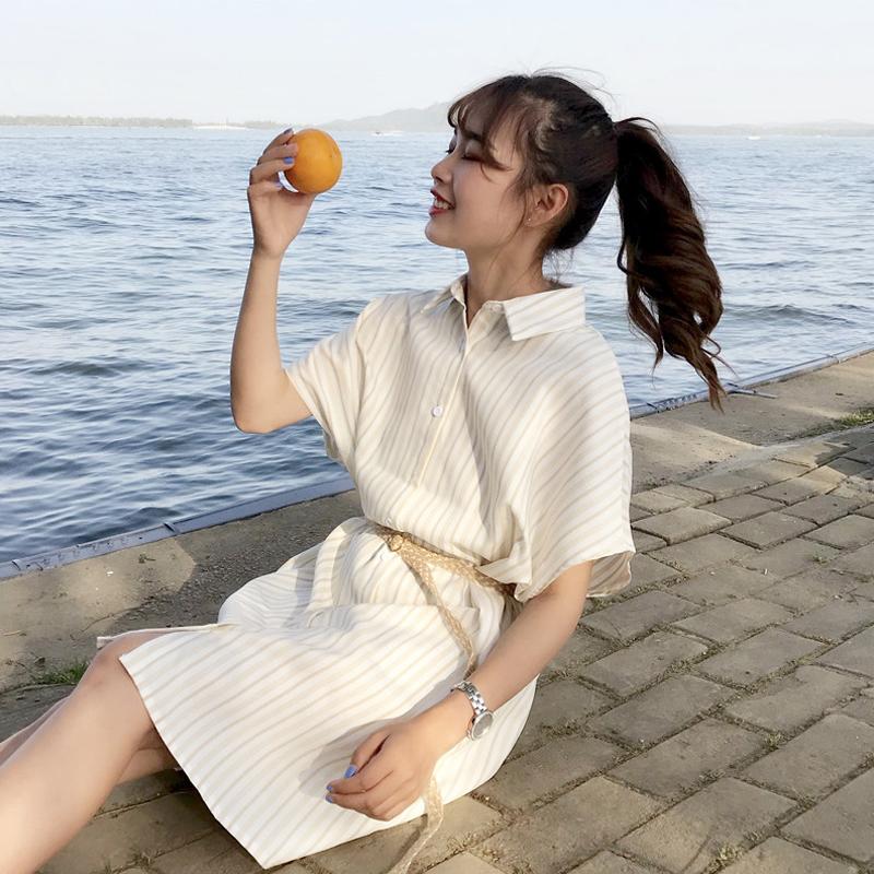 冷淡风连衣裙御姐范女装2018新款极简心机裙子设计感衬衫式仙女范