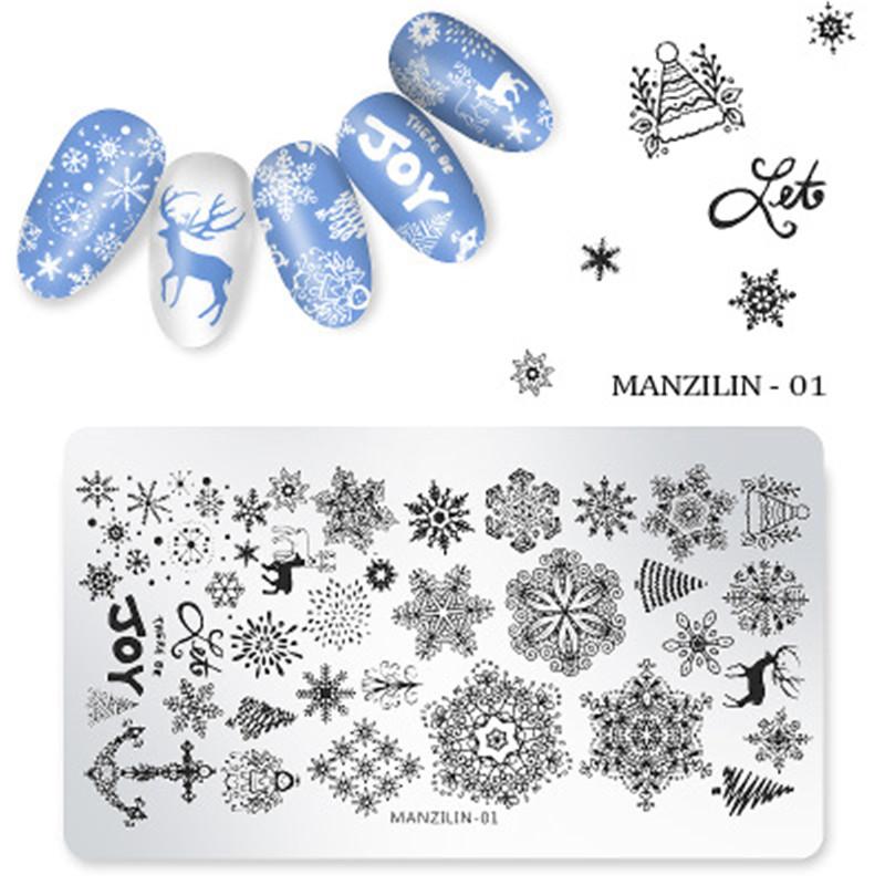 长方形美甲钢板 印花模板 美甲转印印花工具印花套装圣诞雪花系列