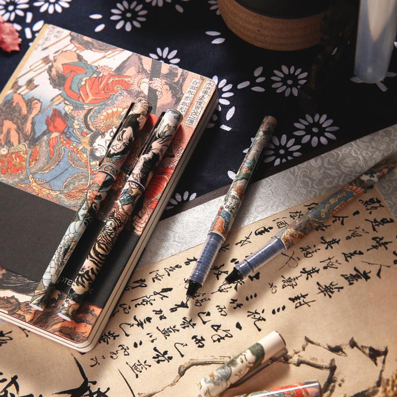 晨光文具 速干中性笔 直液式走珠笔 大英博物馆授权 水浒豪杰系列 速干签字笔 学生水 0.5黑ARP57507 包邮