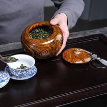 墨西哥黄花梨实木质茶叶罐家用大号储存茶罐收纳醒茶罐木制密封罐