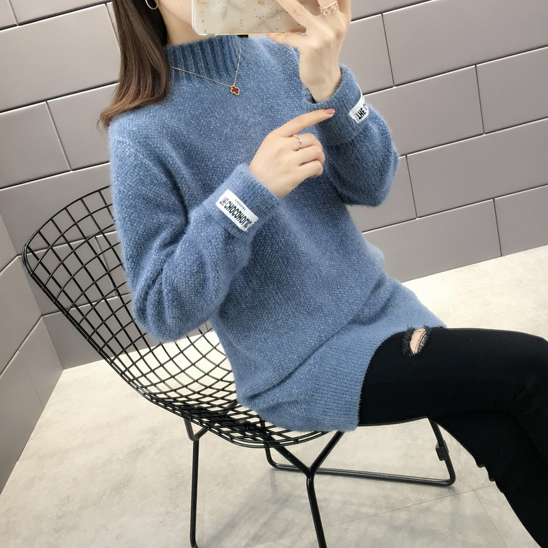 Mink sweater womens high neck autumn 2020 new medium length loose lazy wind Pullover autumn winter thick sweater