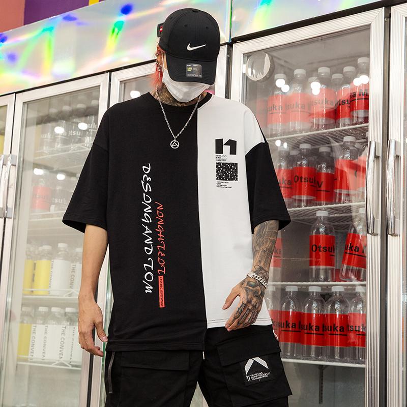 夏季男士新款T黑白拼色时尚个性印花国潮男士五分袖T恤 T413 P55