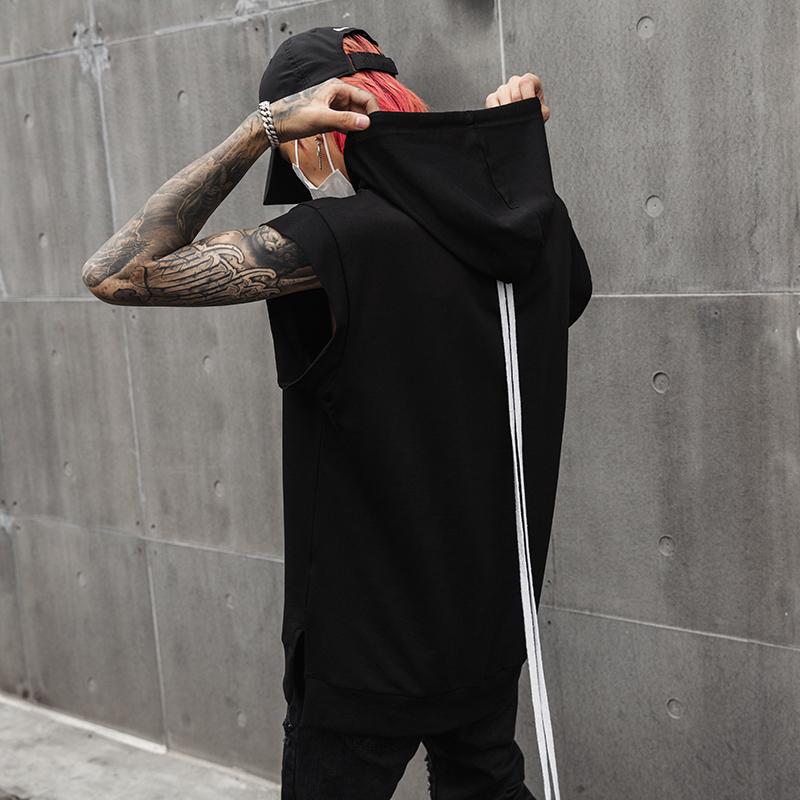 夏季男士连帽T恤个性暗黑系无袖纯色国潮嘻哈演出服 T301 P55