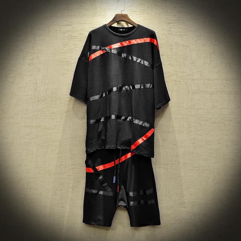 2019新款五分袖T恤短裤套装男士时尚ins流行嘻哈男套装 DT03 P125