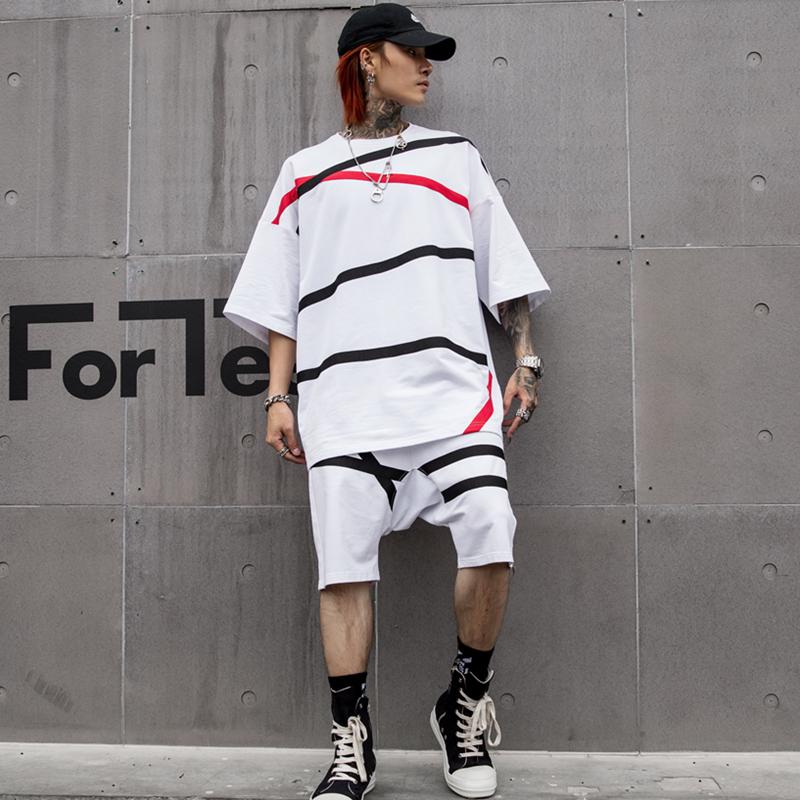 19夏季五分袖T恤短裤套装男士潮流ins超火的上衣嘻哈男 DT03 P125