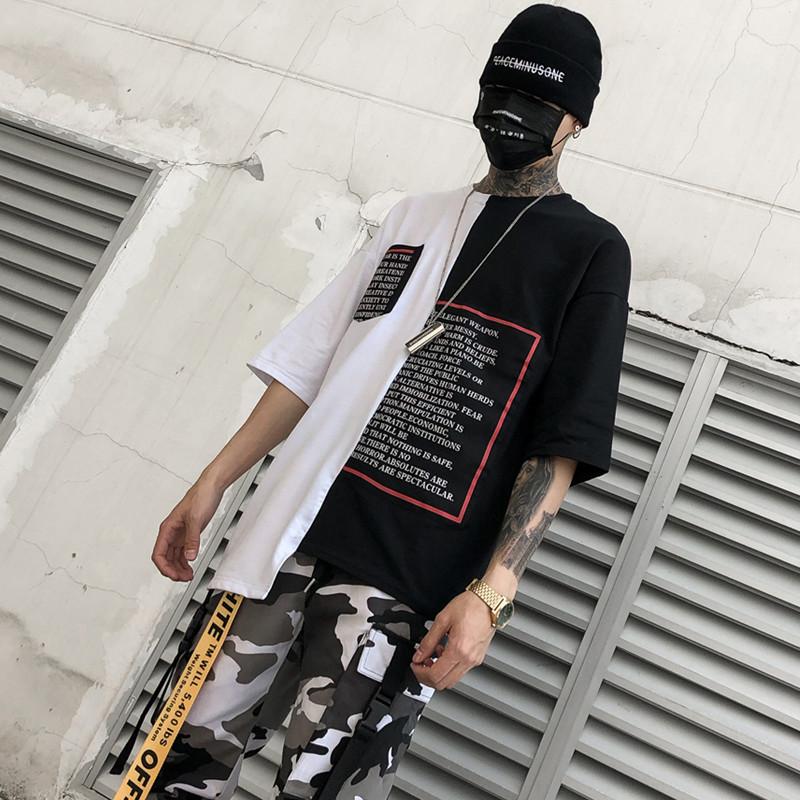 2020春夏潮男圆领印花半袖不对称T恤宽松街头国潮暗黑 T368 P55