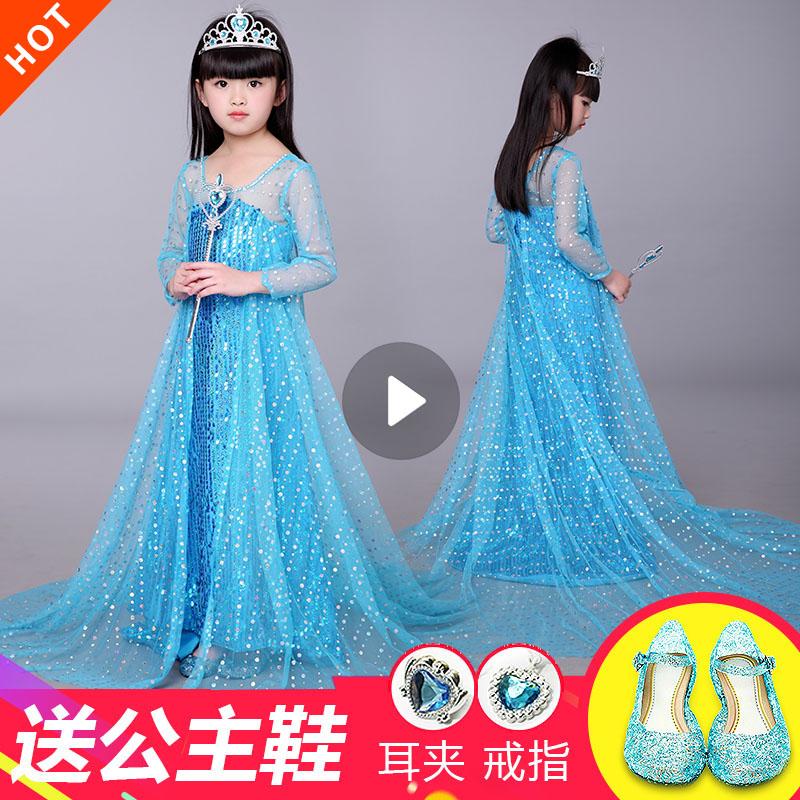 爱莎公主裙冰雪奇缘elsa艾沙艾莎正版女孩连衣裙秋季表演生日裙子