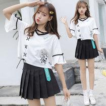 小个子青春活力女装夏学生初秋季森系可爱甜美学院风百褶套装裙子