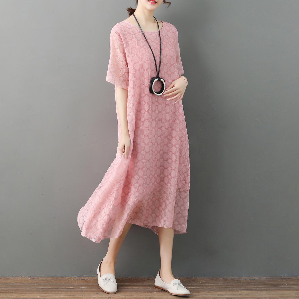 2018新款加大码女装胖MM夏装短袖连衣裙中长款宽松时尚显瘦200斤