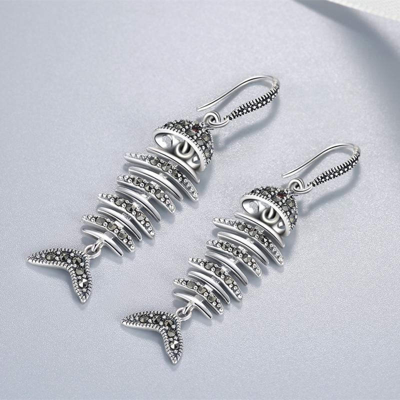 S925 Sterling Silver retro Earrings fishbone Earrings atmospheric Earrings simple net red tide people metal temperament Earrings