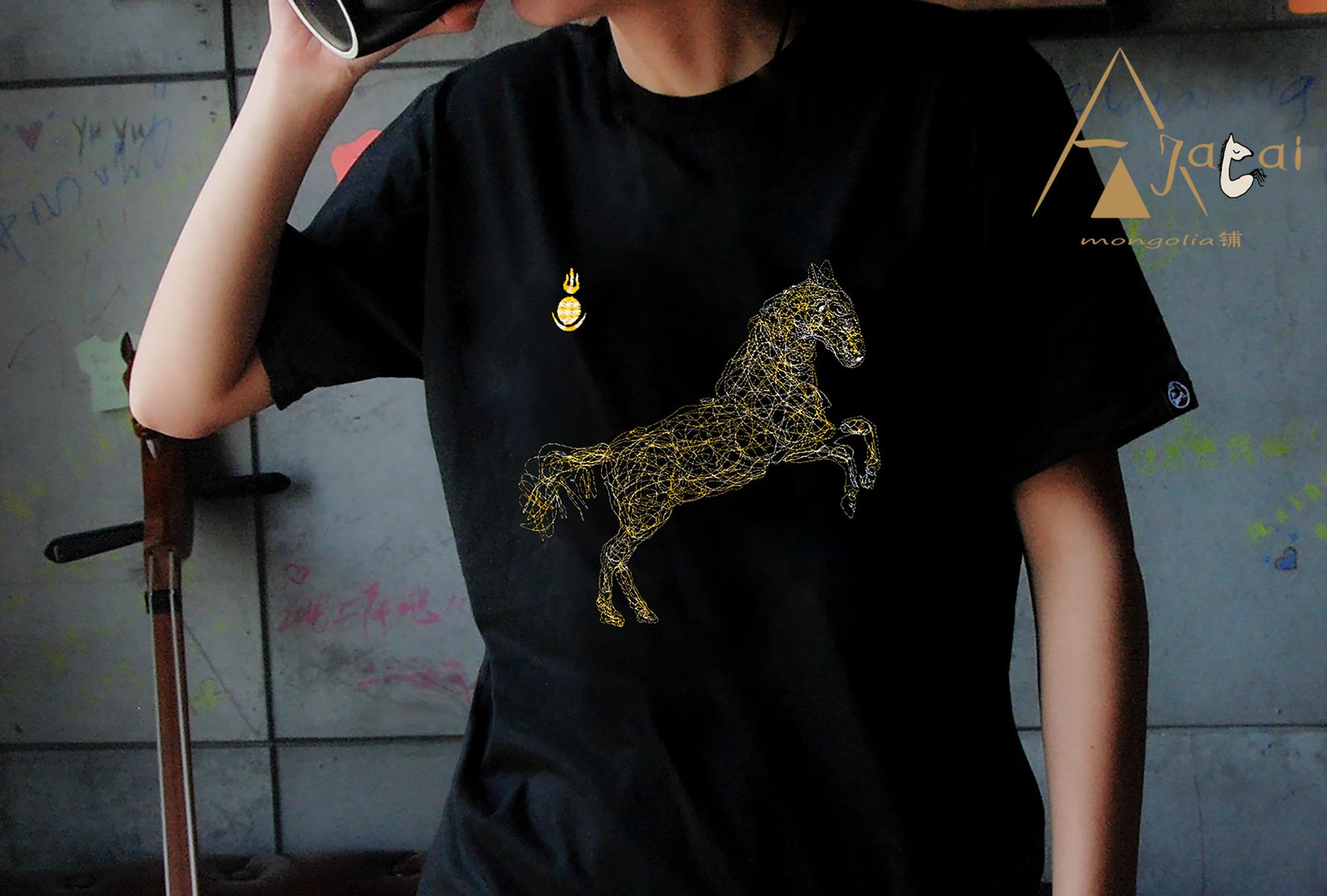阿吉太2020新款纯棉刺绣蒙古马风格短袖男女民族元素原创定制T恤