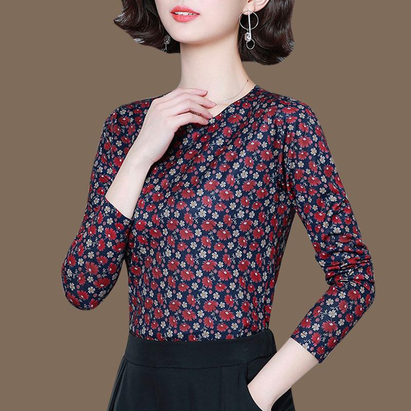 打底衫真丝上衣女秋季妈妈品牌针织花色遮肚子修身T恤桑蚕丝小衫