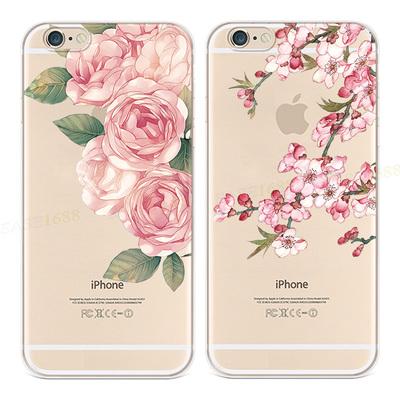 ins透明花朵适用于苹果8手机壳iPhone7/6S牡丹花plus桃花5SE2女款
