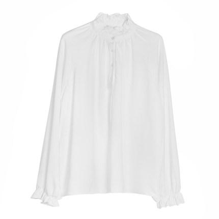 2019早季新款荷叶领女纯色长袖衬衫