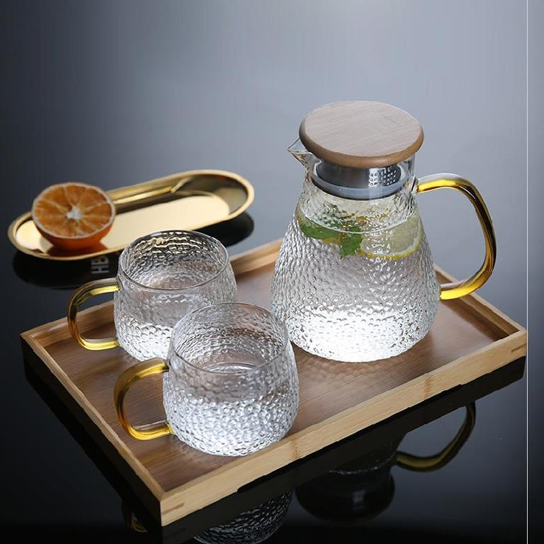 Color hexagon gradual change small glass cup with handle heat resistant glass with Restaurant auxiliary food fruit tea thick