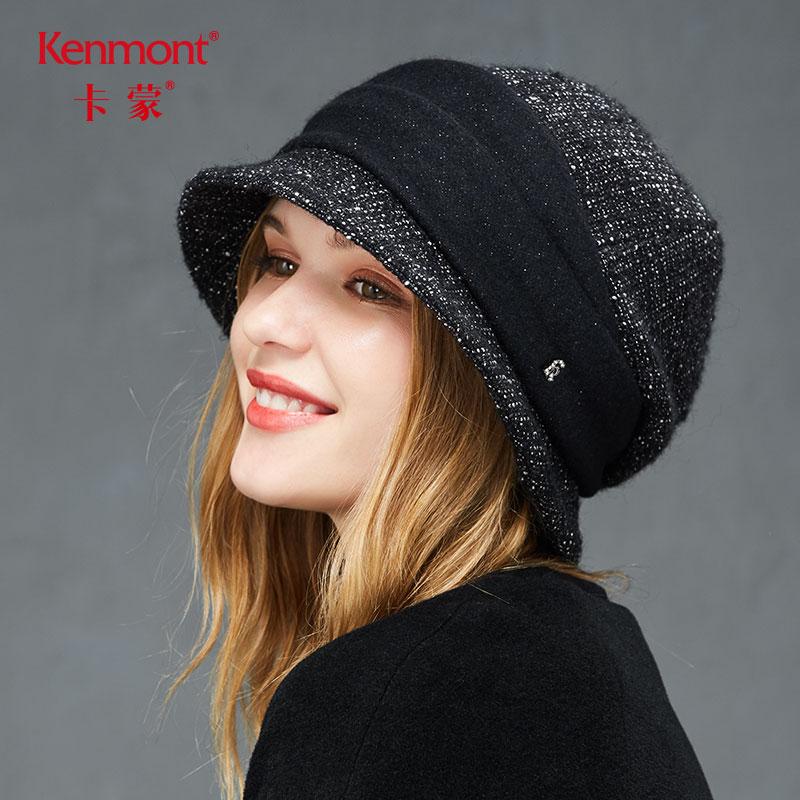 卡蒙贝雷帽女秋冬羊毛加厚保暖毛呢鸭舌帽英伦复古拼接显脸小帽子