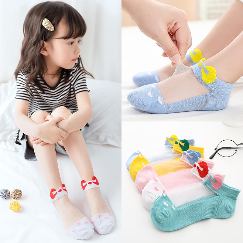 水晶袜夏季女童纯棉船袜卡通冰丝袜