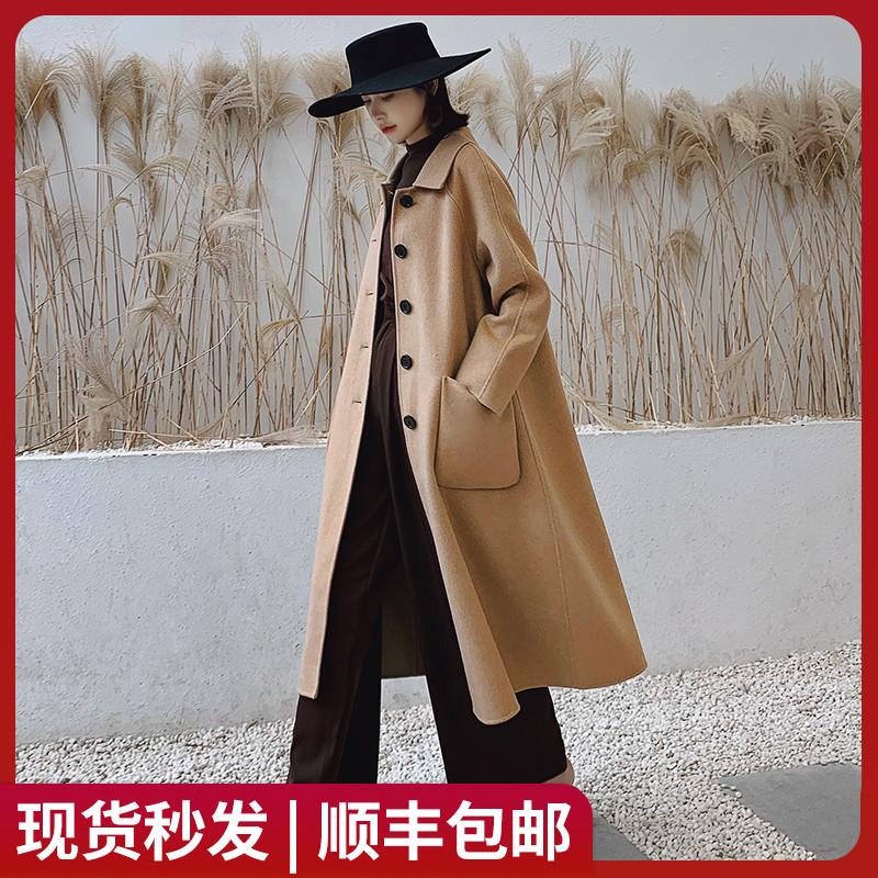 2019秋冬新款100%羊毛A字版中长款双面呢羊绒大衣女宽松毛呢外套