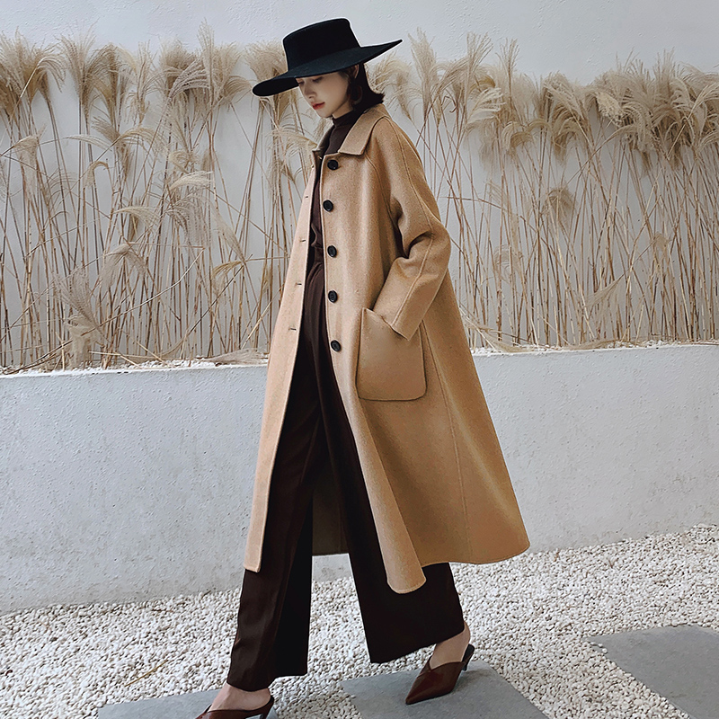Autumn and winter 2020 new 100% wool A-line medium length double faced cashmere coat womens loose wool coat