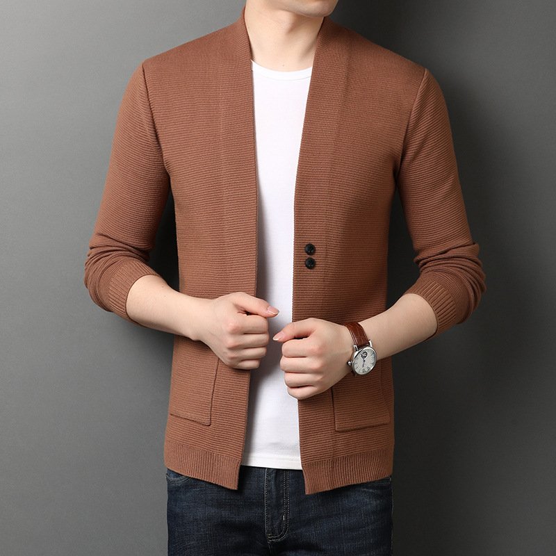 [factory direct sales] autumn and winter new mens knitted cardigan mens sweater coat quality simple sweater