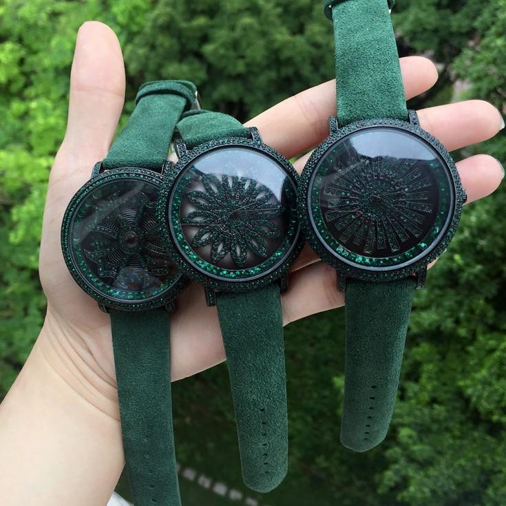 爆款女神时来运转绿色磨砂翻毛皮手表大盘满钻旋转表水晶男女手表